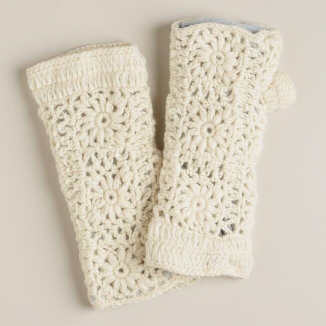 Ivory Fingerless Wool Gloves