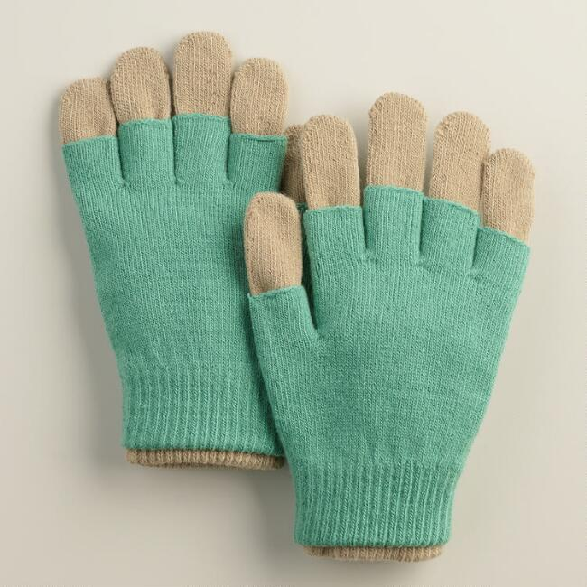 Green and Taupe 3-in-1 Gloves