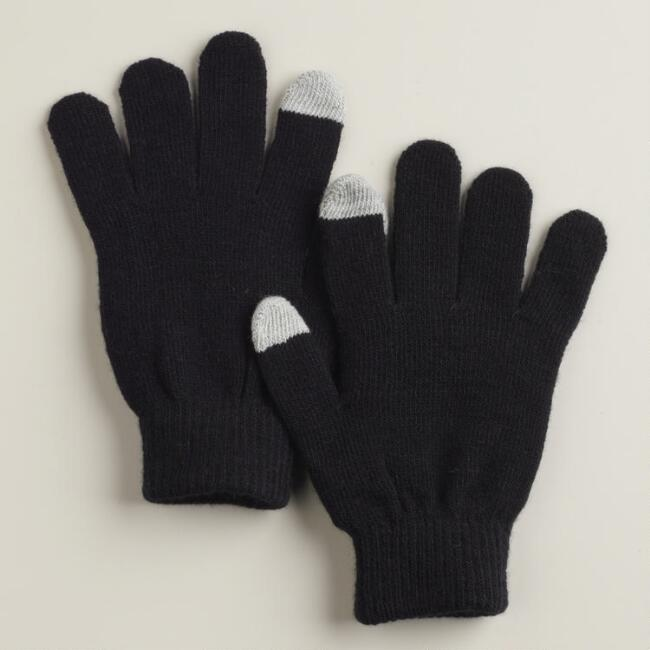 Solid Black Touch Screen Gloves