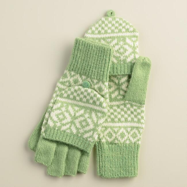 Mint Fairisle Glittens