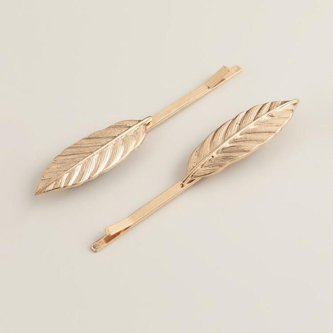 Gold Leaf Hairpins, Set of 2