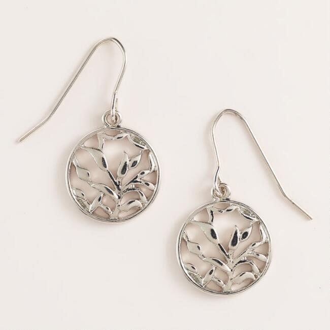 Round Silver Leaf Drop Earrings
