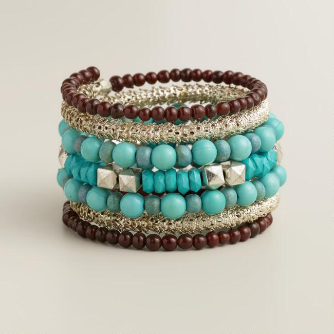 Turquoise and Silver Coil Bracelet