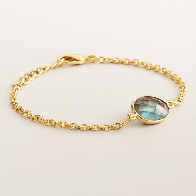 Labradorite and Gold Chain Bracelet