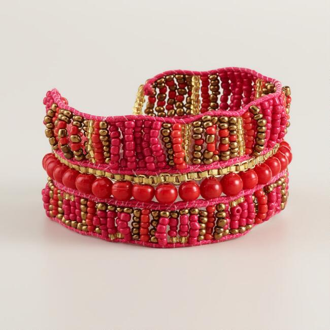 Red and Gold Bead Tribal Bracelet