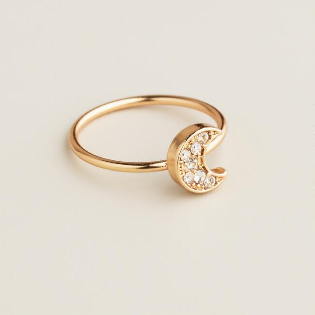 Gold Pave Moon Midi Ring
