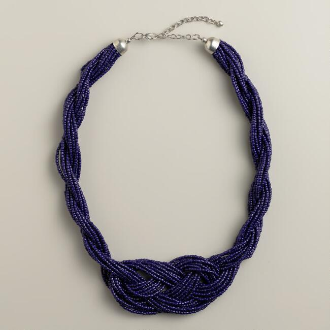 Blue Beaded Infinity Necklace