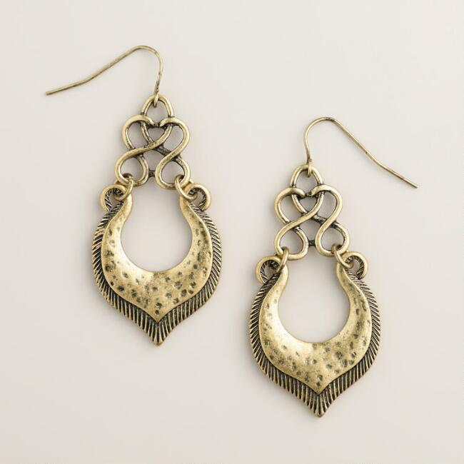 Gold Tribal Twist Drop Earrings