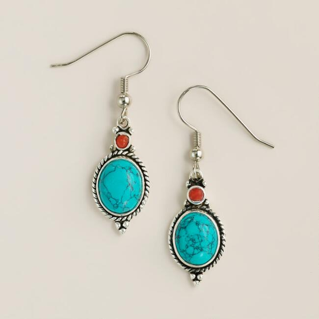 Turquoise and Coral Tribal Drop Earrings