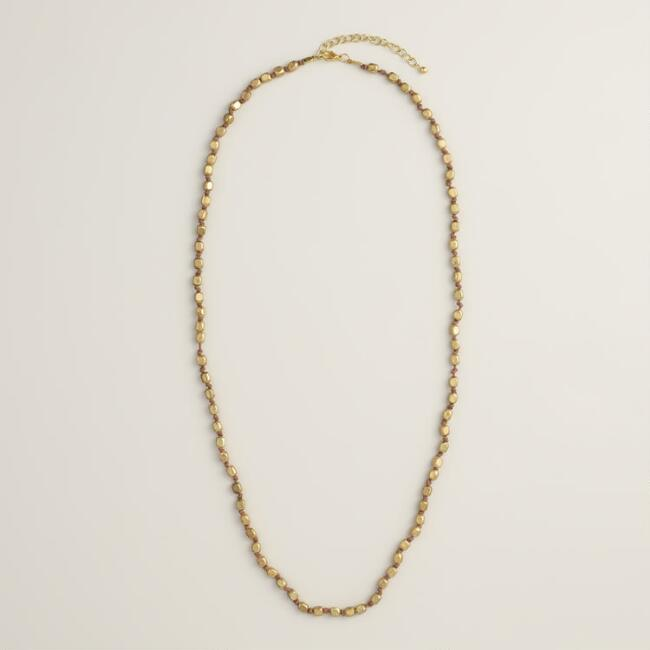 Long Gold Bead Single Layer Necklace