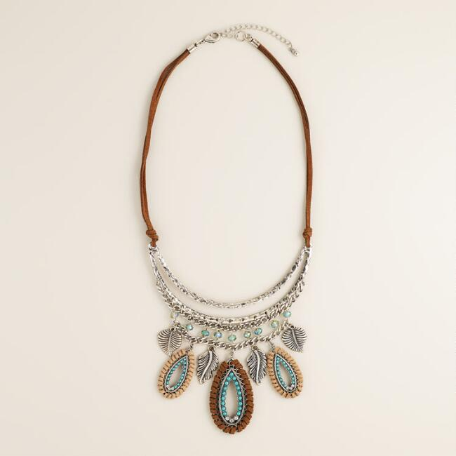 Suede and Turquoise Leaf Statement Necklace