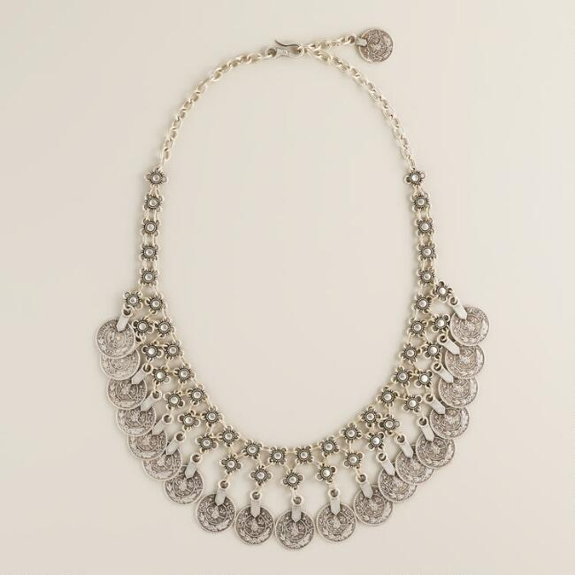 Silver Coin Statement Dangle Necklace