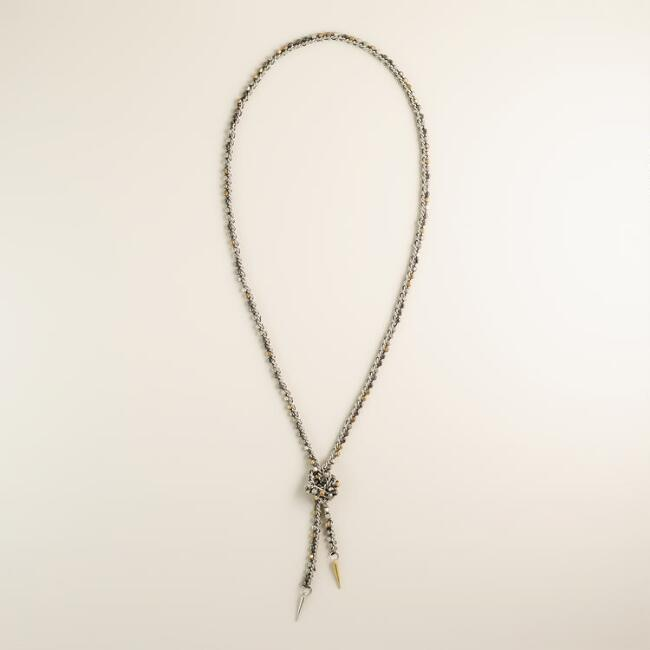 Mixed Metal Bead Lariat Chain Necklace