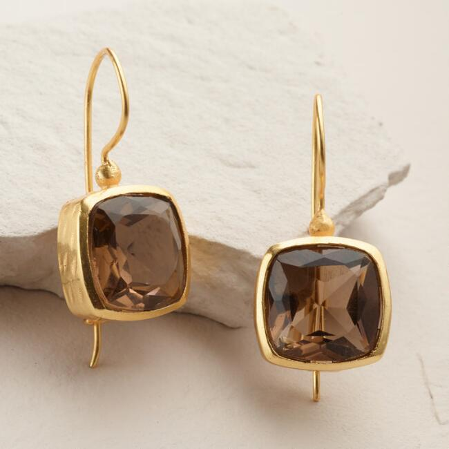 Gold Smoky Stone Square Drop Earrings