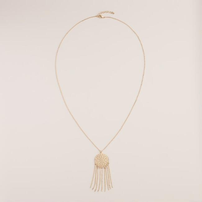 Gold Filigree Pendant Fringe Necklace