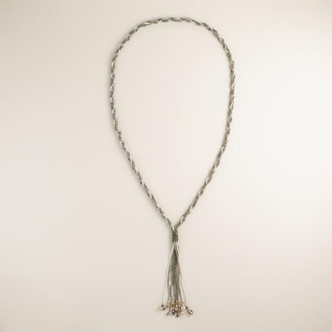 Braided Gray Seed Bead Tassel Necklace