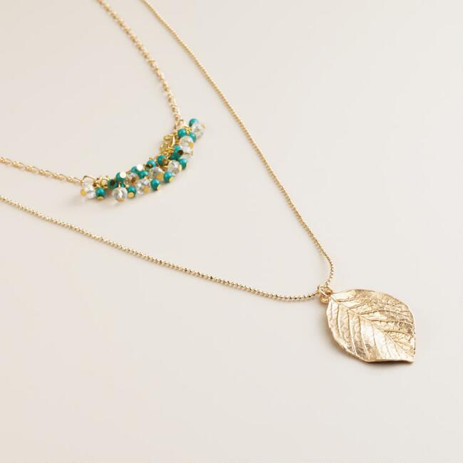 Gold Leaf and Turquoise Bead Layer Necklace