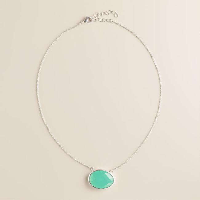 Silver and Aqua Round Pendant Necklace