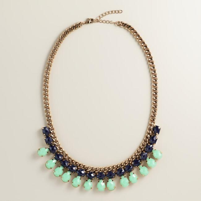 Blue and Turquoise Chain Statement Necklace