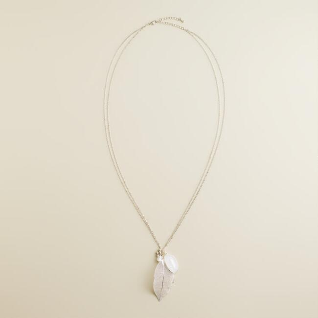 Silver Leaf and Charm Pendant Necklace