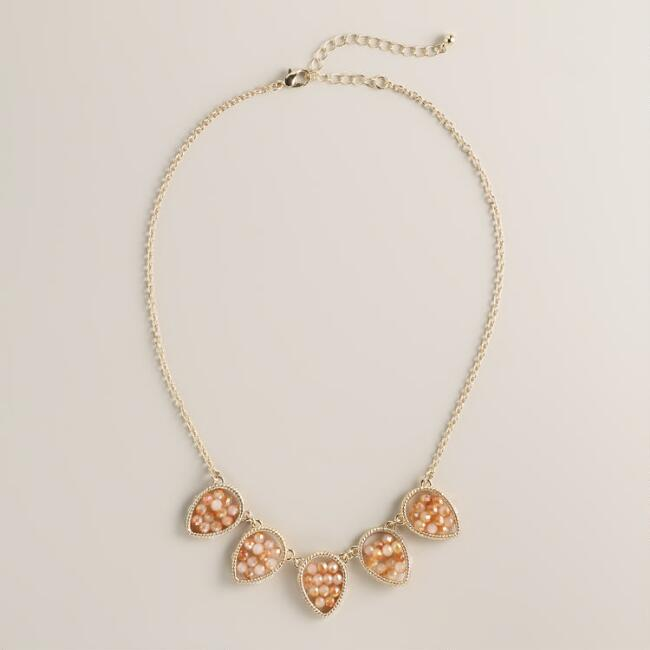 Blush Pink Topaz Faceted 5-Leaf Necklace