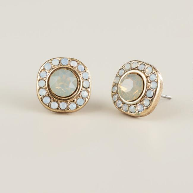 Large White Opal Stud Earrings