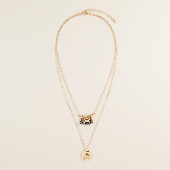 Gold Coin Double-Layer Bead Pendant Necklace