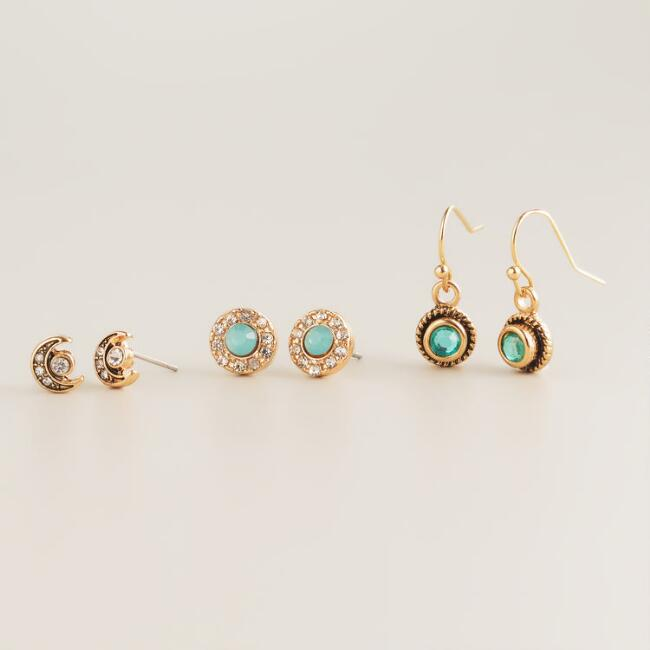 Gold Crescent Moon, Mint and Green Earrings, Set of 3