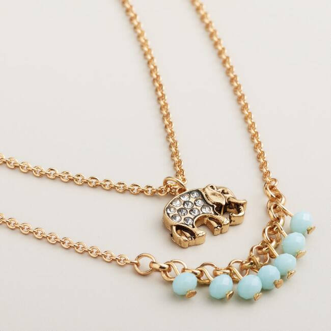 Gold Mint and Elephants Pendant Necklaces, Set of 2
