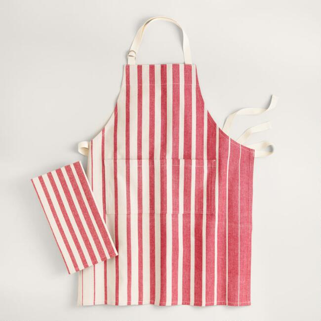 Red Ombre Stripe Kitchen Linen Collection