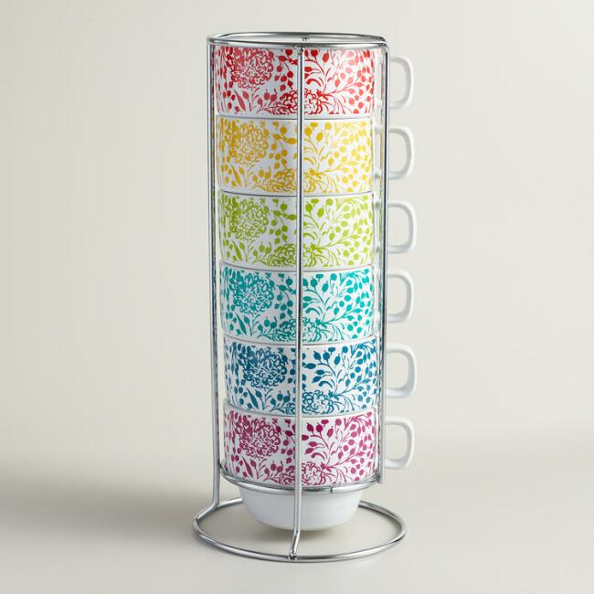 Underwater Floral Stacking Mugs, Set of 6