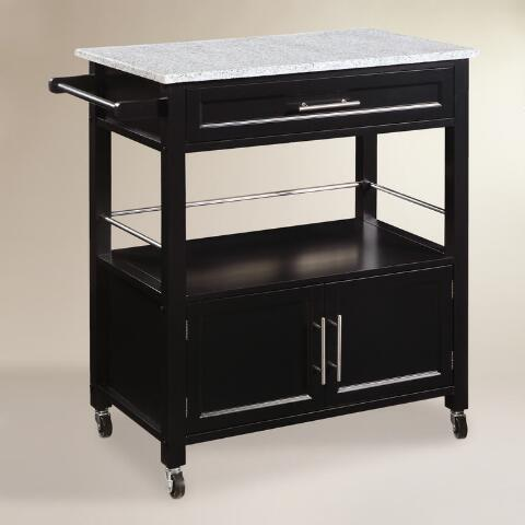 Black Wood and Granite Top Thea Kitchen Cart | World Market