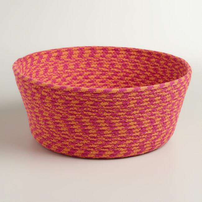 Pink Braided Cat Basket