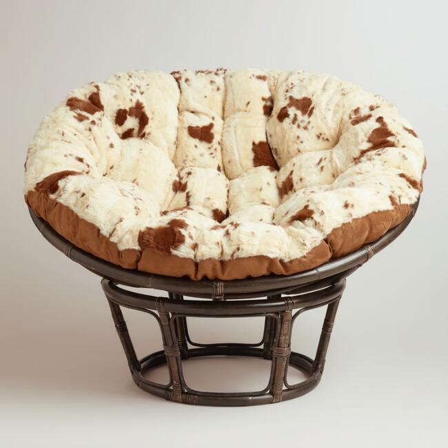 Cowhide Faux Fur Papasan Chair Cushion