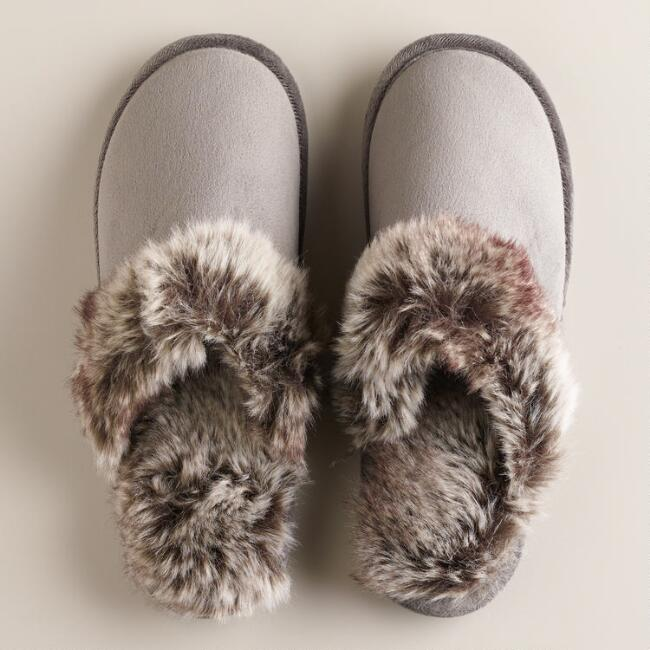 Dark Gray Faux Fur Slippers