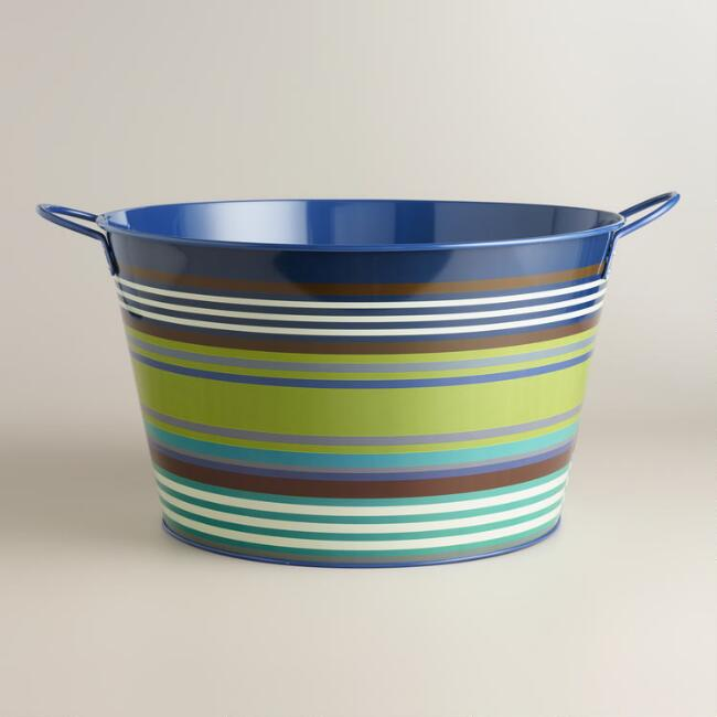 Riviera Stripe Metal Drink Tub