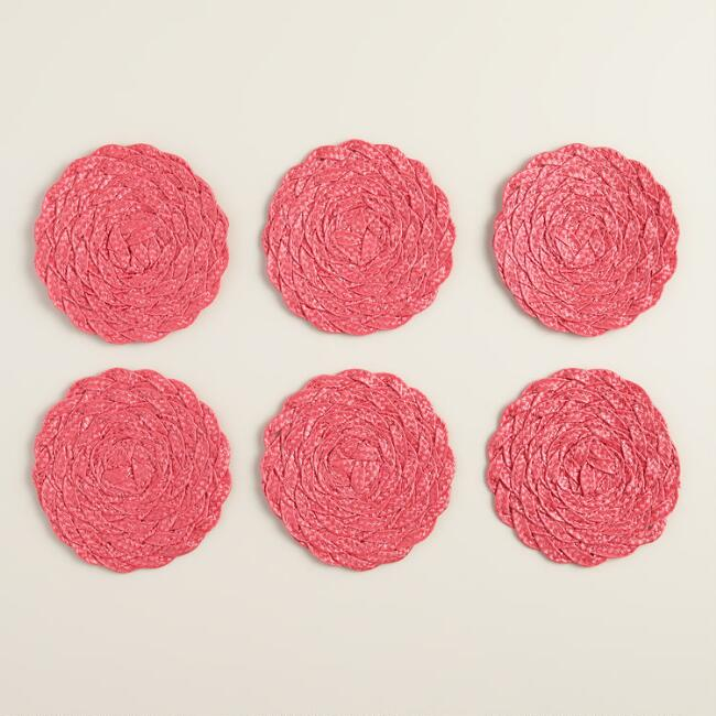 Spiced Coral Poly-Braided Coasters, Set of 6