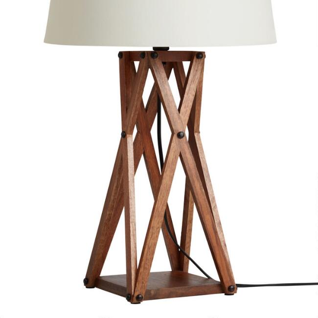 Wood X Frame Industrial Table Lamp Base
