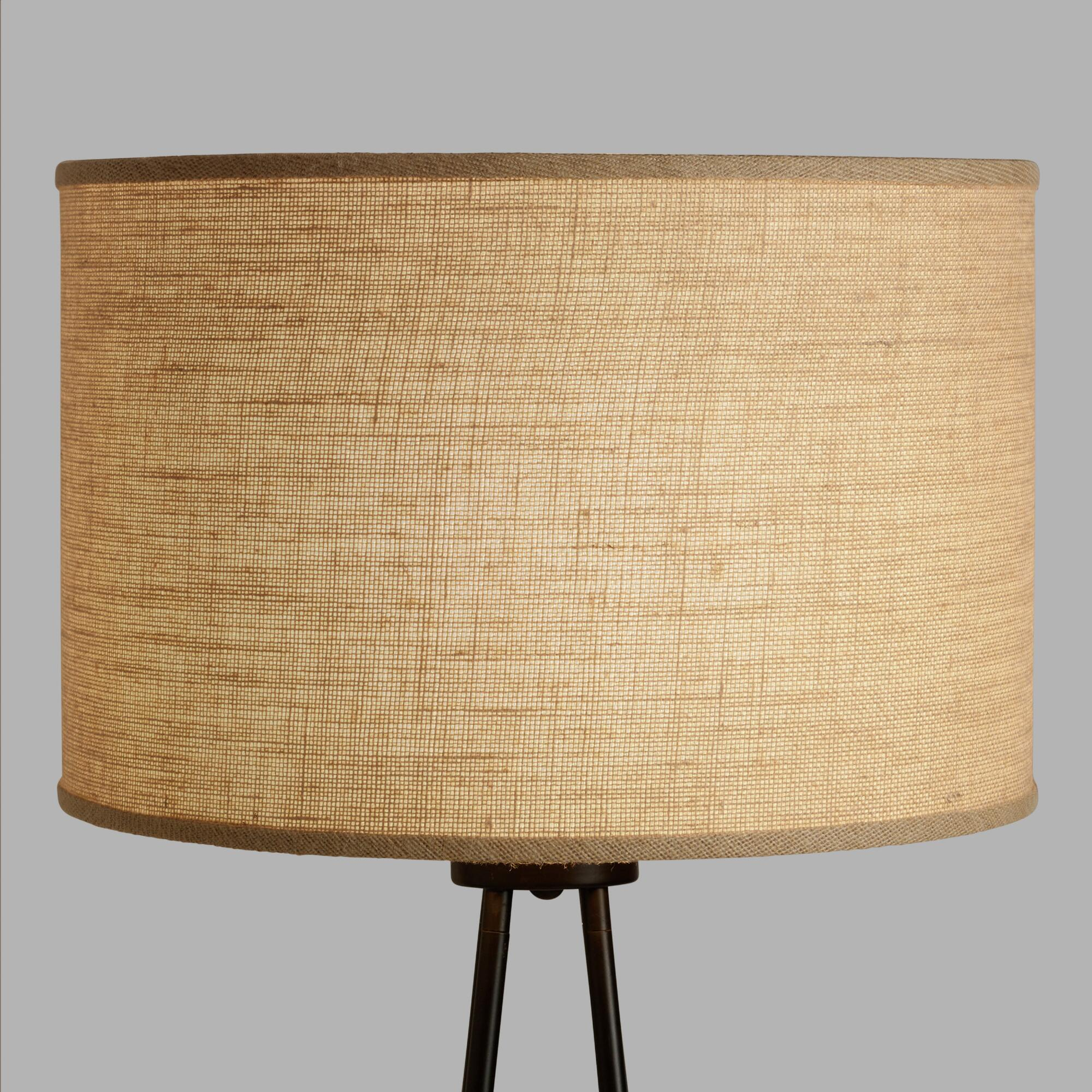 Natural Burlap Drum Floor Lamp Shade - Metal by World Market