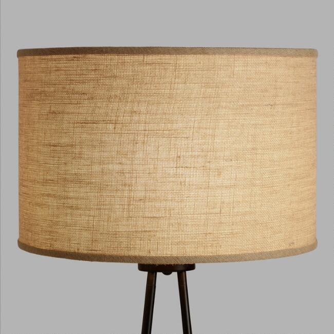 Natural burlap drum floor lamp shade world market natural burlap drum floor lamp shade mozeypictures Image collections
