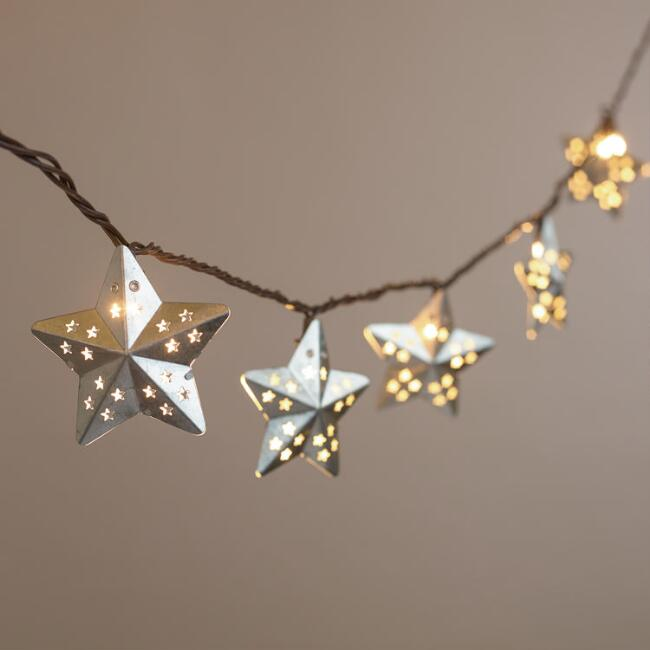 Galvanized Metal String Party Lights : Galvanized Metal Stars 10-Bulb String Lights World Market