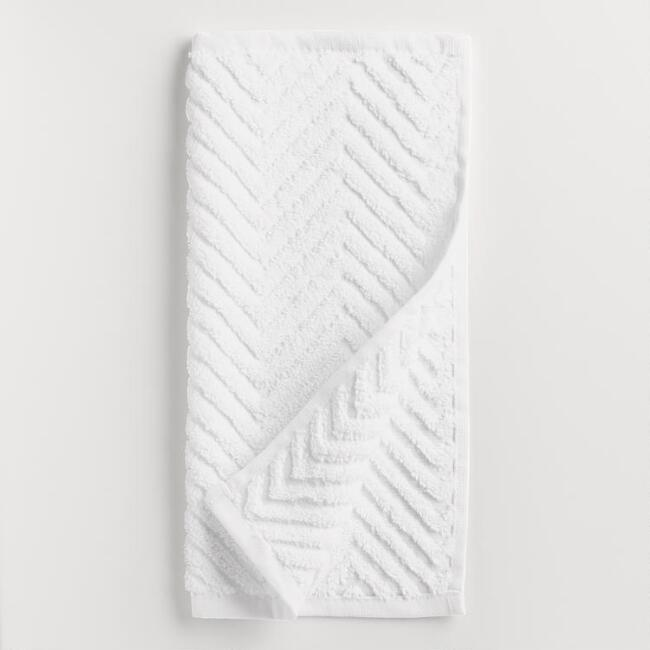 White Chevron Spa Washcloth, Set of 2