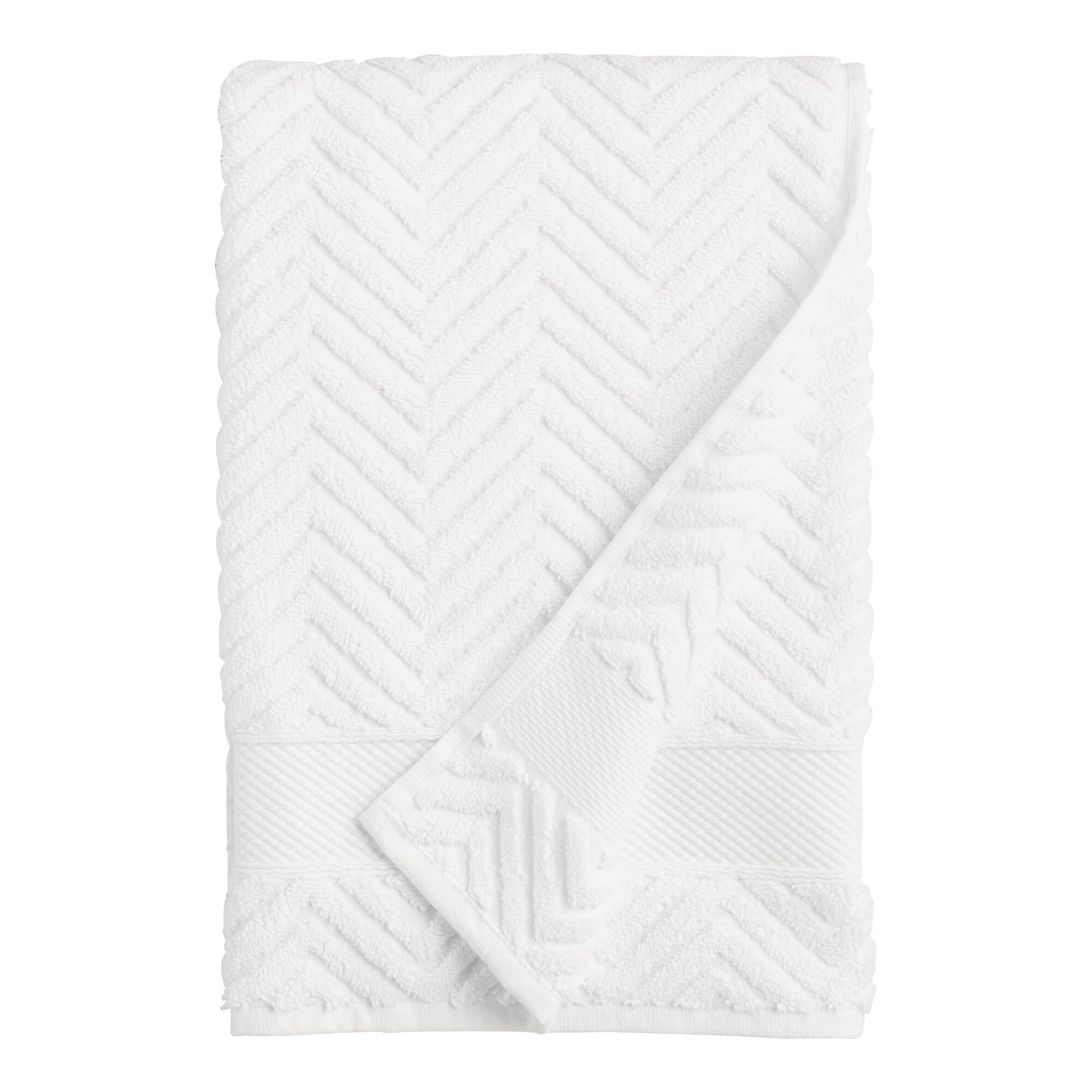 White Chevron Spa Bath  Towel - Cotton by World Market