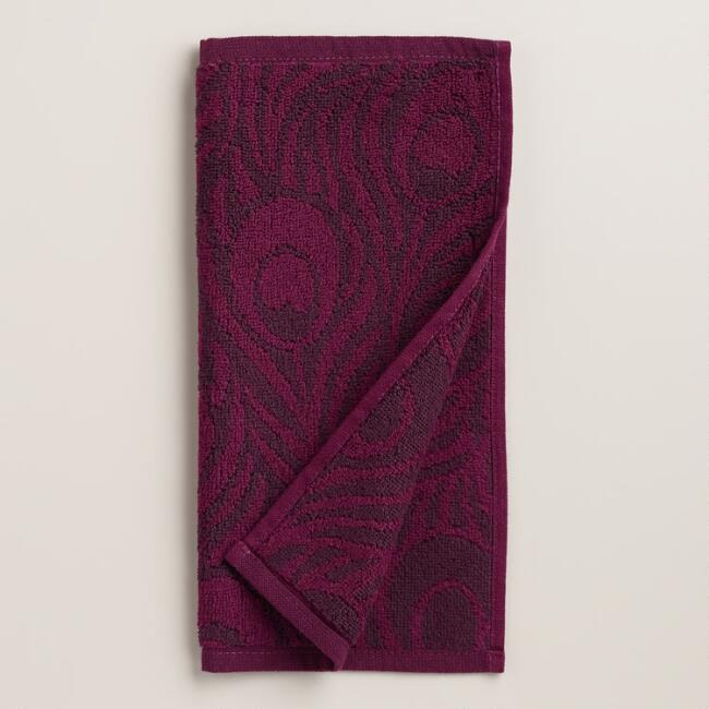 Purple Peacock Feather Jacquard Washcloth, Set of 2