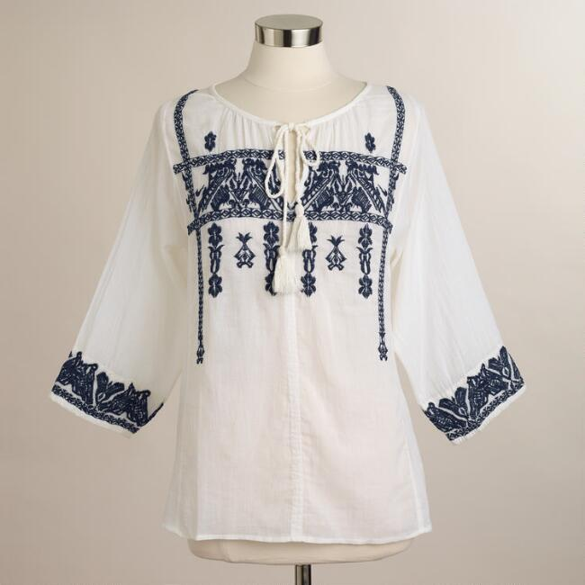 White and Blue Embroidered Natalie Peasant Blouse