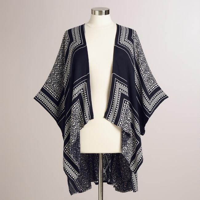 Navy and White Tribal Iamar Kimono