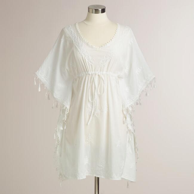 Short White with Tassels Nina Kaftan