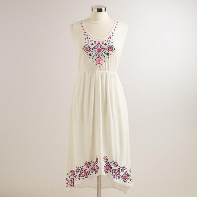 White Neon Embroidered Brie Midi Dress