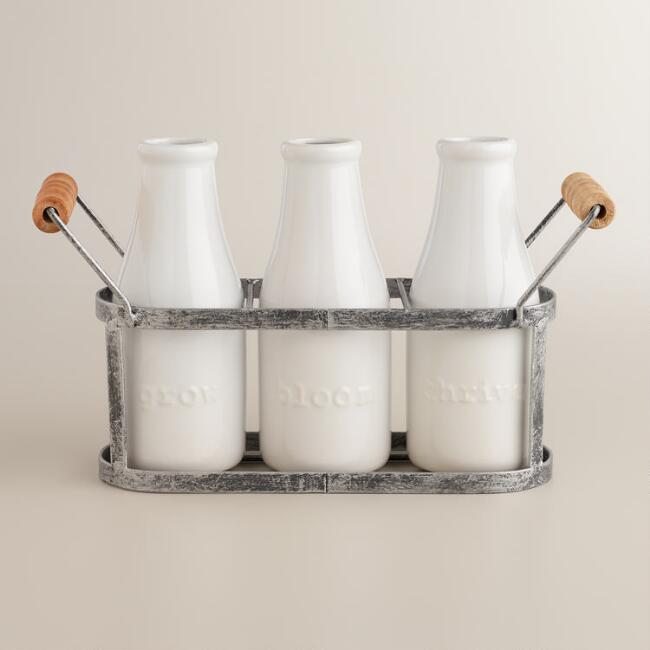 Bloom, Thrive and Grow Milk Bottle Vases with Holder