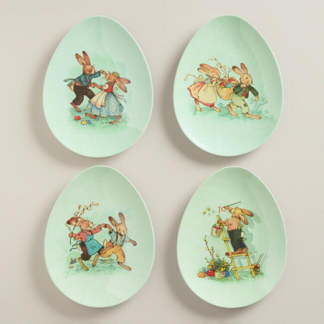 Nestler Bunny Melamine Egg Plates Set of 4